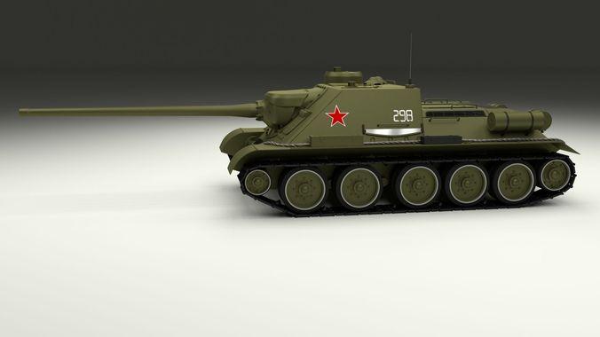 su 100 tank destroyer 3d model obj mtl fbx stl blend dae 1