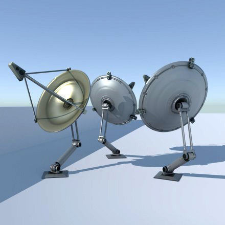 Satellite dishes rigged and low poly