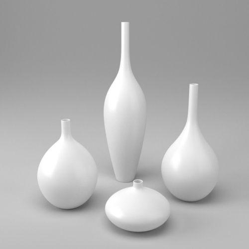 White Decor Vase Set 3d Model Cgtrader