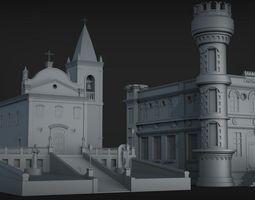 3D Church exterrior HIGH DETAIL