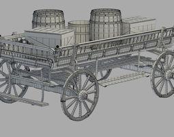 old wooden wagon 3d model max obj
