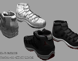 shoes jordan 11   3d model obj fbx ma mb
