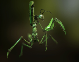 animated praying mantis VR / AR ready 3d asset