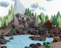 realtime 3d model low poly lanscape mountain hill tree lake and other items