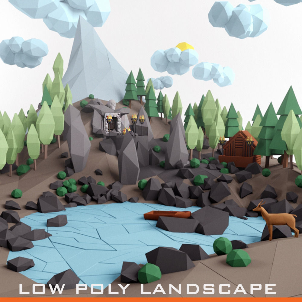 Low poly lanscape mountain hill tree lake and other items