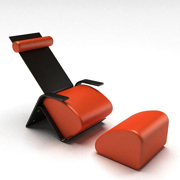 Chair With Separate Foot Rest 3D