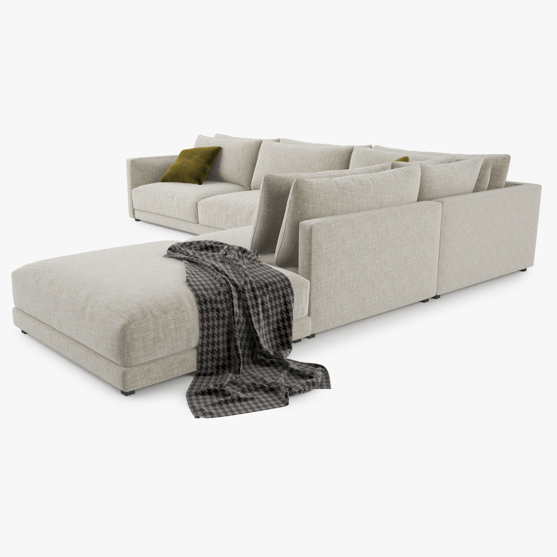 Poliform bristol sofa 3d model 3d model max obj 3ds fbx for Sofa 3d model