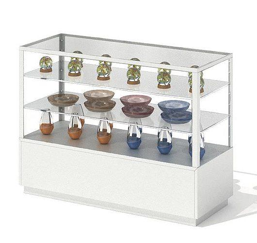 glass display shelf 3d model obj mtl 1