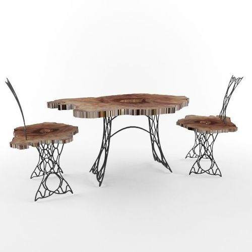 trunk and wrought iron table and chairs 3d model max 1