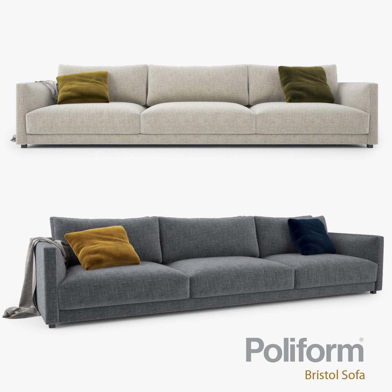 Poliform Bristol Three Seater Sofa Model Max Obj Mtl Fbx 1