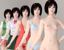 satomi various outfit pose 01 3d model max fbx