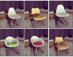 3D asset Classic Eames Chairs