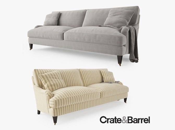 crate and barrel essex sofa with casters 3d model max obj fbx mtl