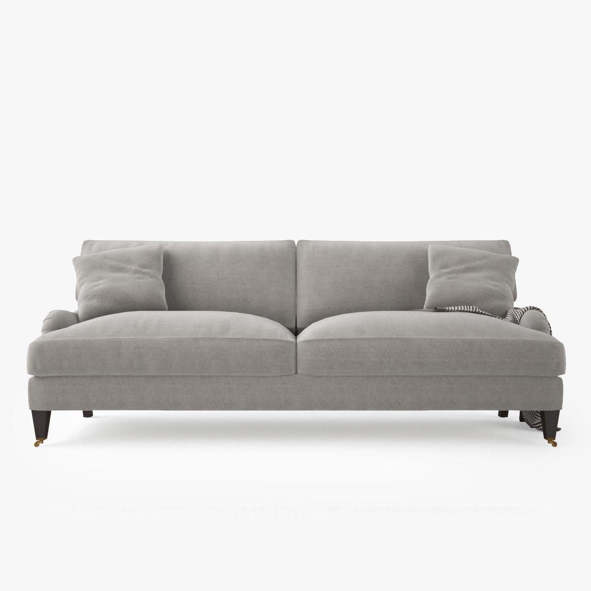 Crate And Barrel Es Sofa With Casters Model Max Obj Mtl Fbx 6