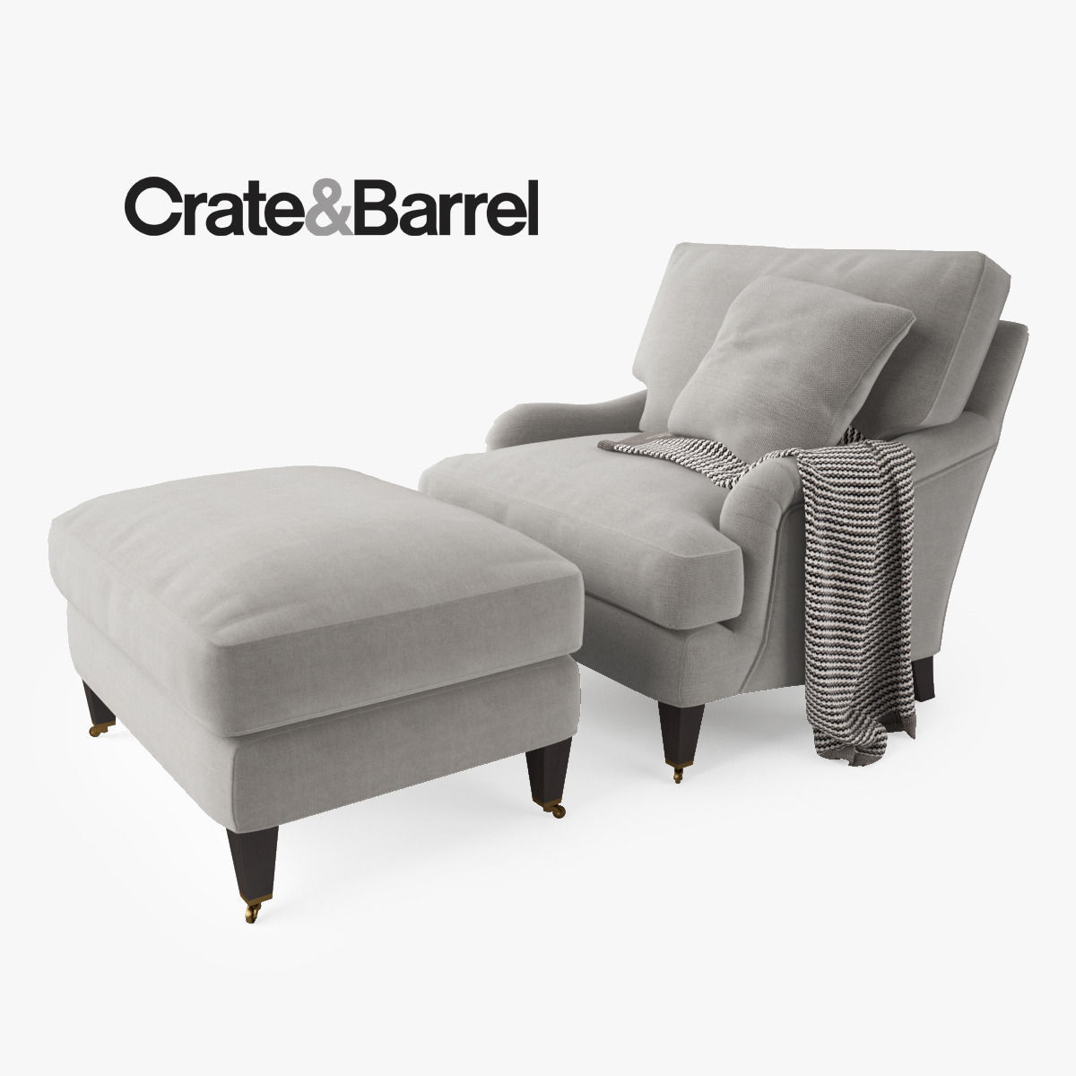 Crate And Barrel Essex Chair And Ottoman 3d Model Max Obj Fbx Mtl 1 ...