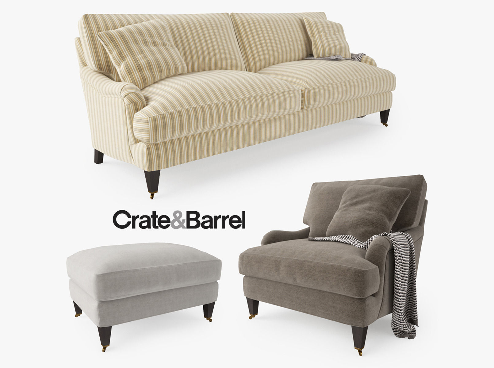 crate and barrel essex sofa collection 3d model max obj fbx mtl. Black Bedroom Furniture Sets. Home Design Ideas