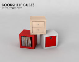 3D model Bookshelf cubes