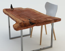 Table and chair wood 3D
