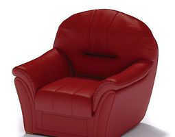 red leather armchair 3d