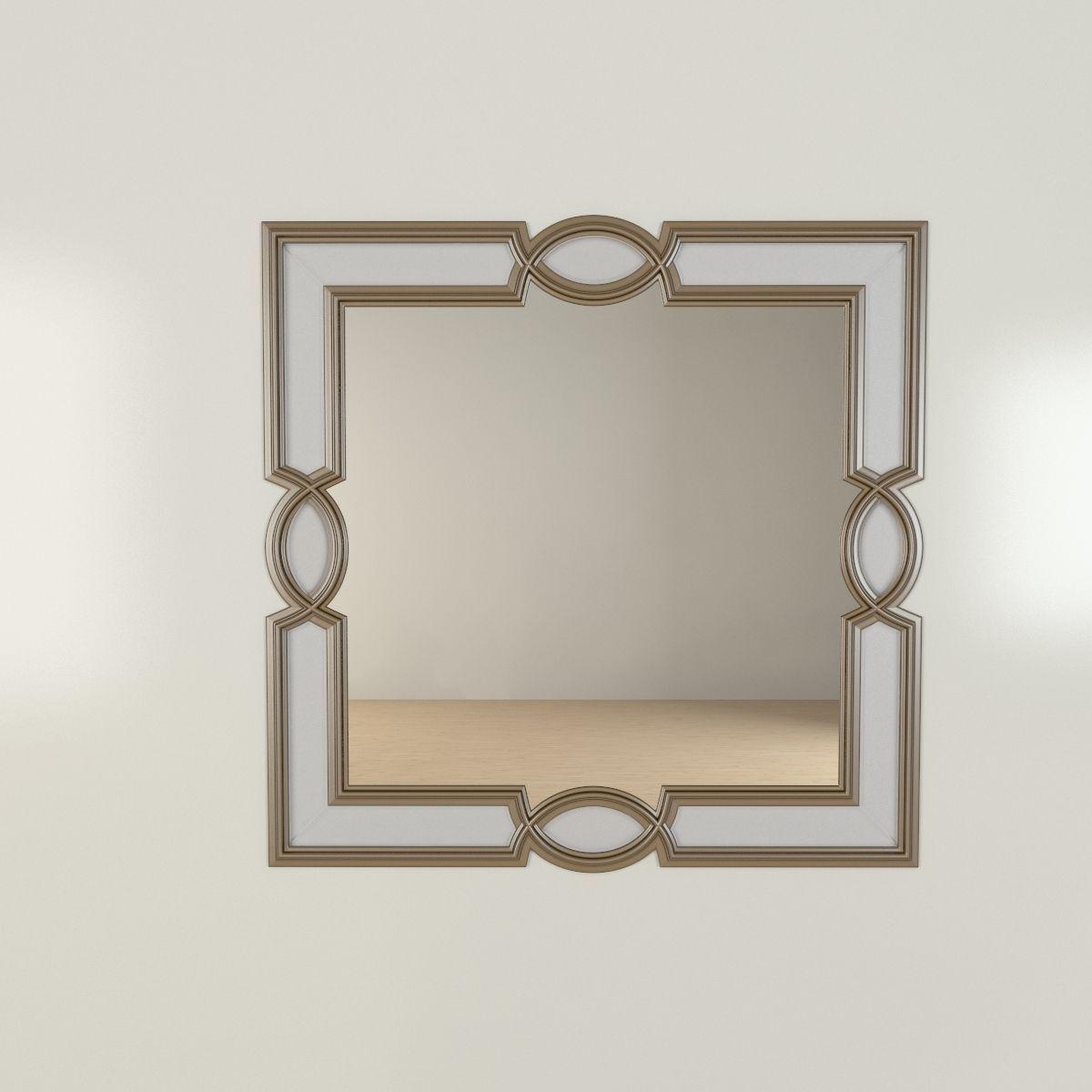Ornamental brass mirror 3d model max obj 3ds fbx for Mirror 3d model