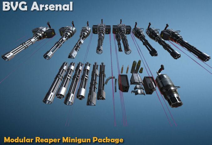 modular reaper minigun package - hq 3d model low-poly fbx ma mb 1