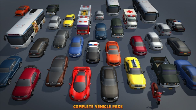 complete vehicle pack v1 3d model low-poly obj fbx mtl tga 1