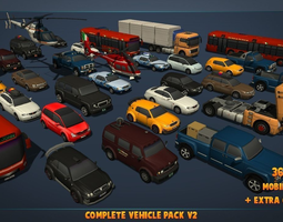 3d asset complete vehicle pack v2 low-poly