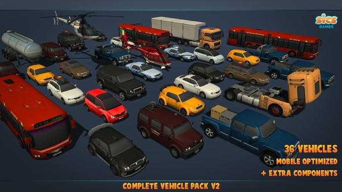 complete vehicle pack v2 3d model low-poly fbx 1