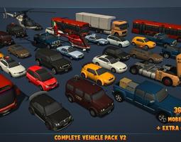 complete vehicle pack v2 3d model low-poly fbx