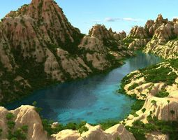 Mountain terrain with lake 3D