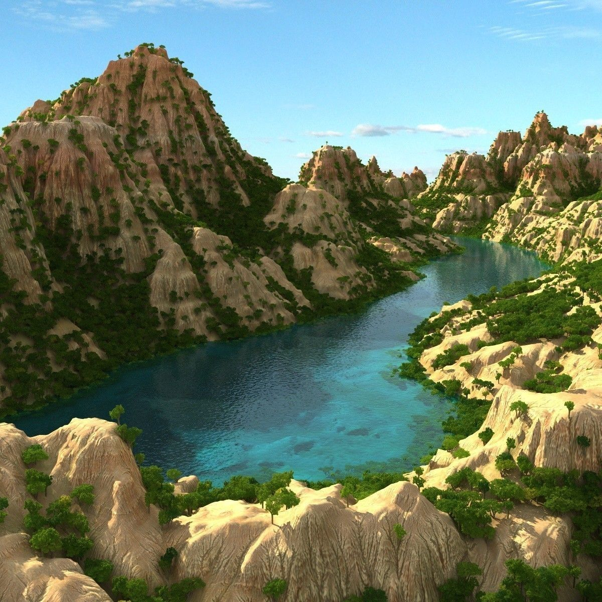 Mountain Terrain With Lake 3d Cgtrader