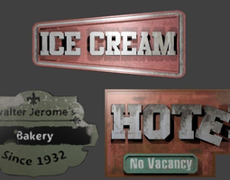 Low Poly signs package 3D model