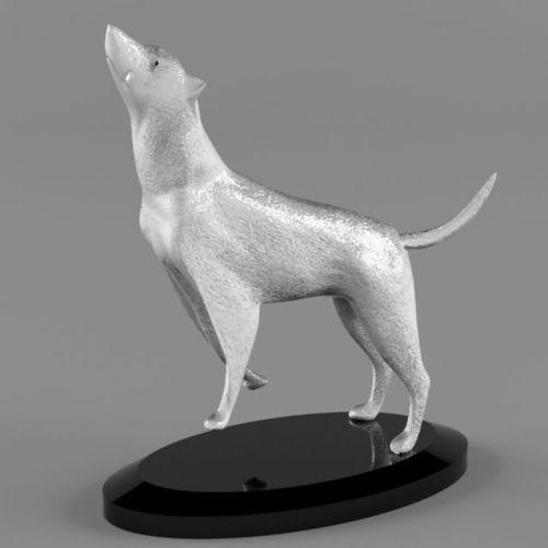 high detailed silver wolf statue 3d model max obj fbx mtl 1