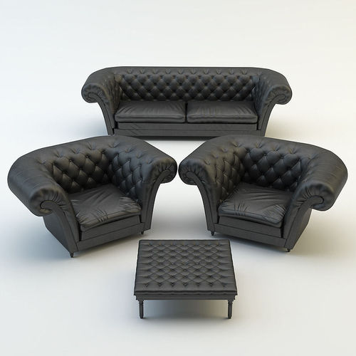 Chesterfield Sofa Armchair Chair 3d Cgtrader