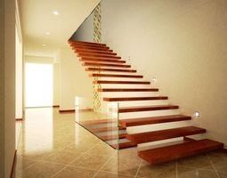 Modern hall and stairs with textures 3D model