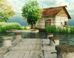 Lake with house Free 3D asset