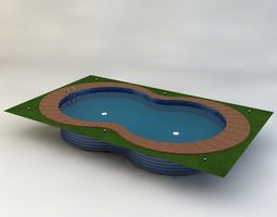 swimming pool low poly game-ready 3d asset