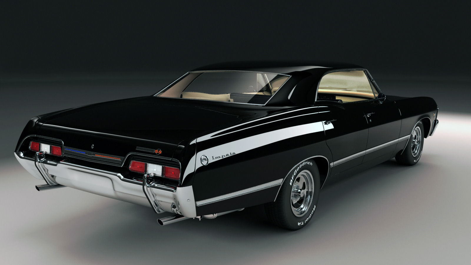 chevrolet impala ss 1967 3d model max obj fbx mtl. Black Bedroom Furniture Sets. Home Design Ideas