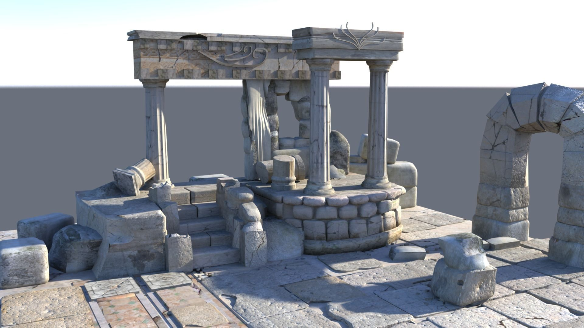 Detailed Temple Ruins