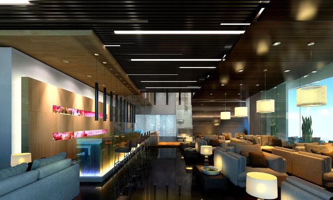 caffee lobby 3d model max fbx 1