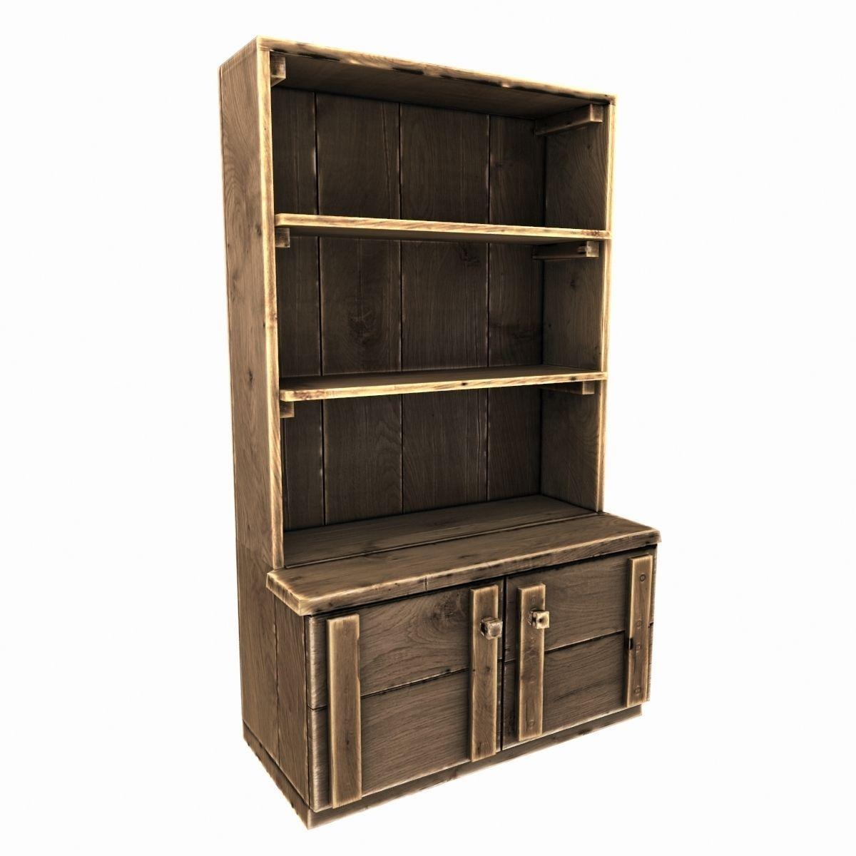 D model old wooden cupboard vr ar low poly obj fbx