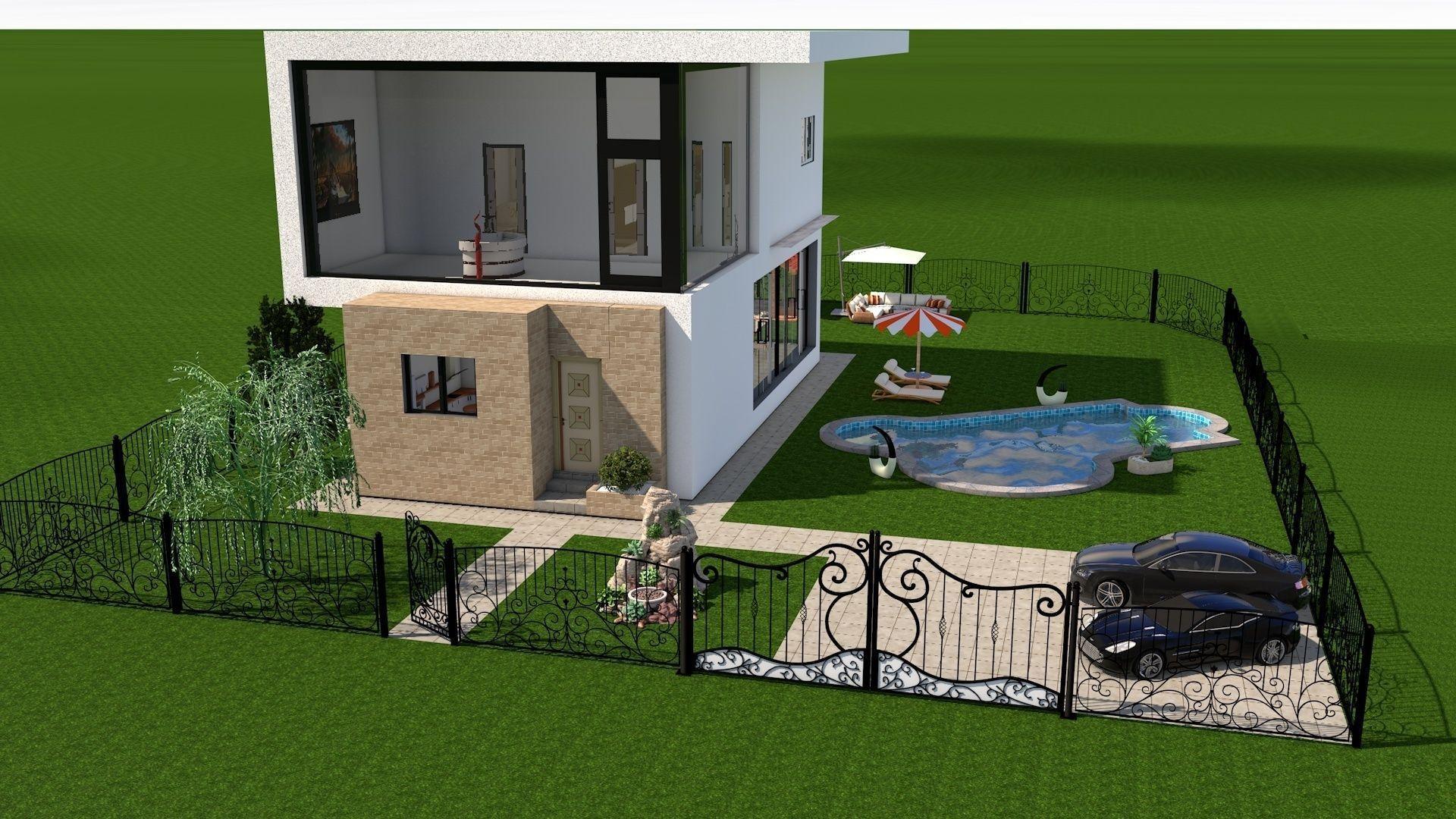 Modern house interior exterior design 3d model rigged for 3d modern exterior house designs
