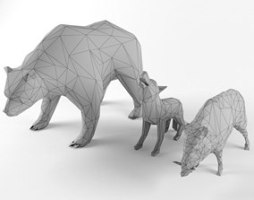 Low Poly Bear Wolf Boar Wild Mammal Animal Set 3D asset 1