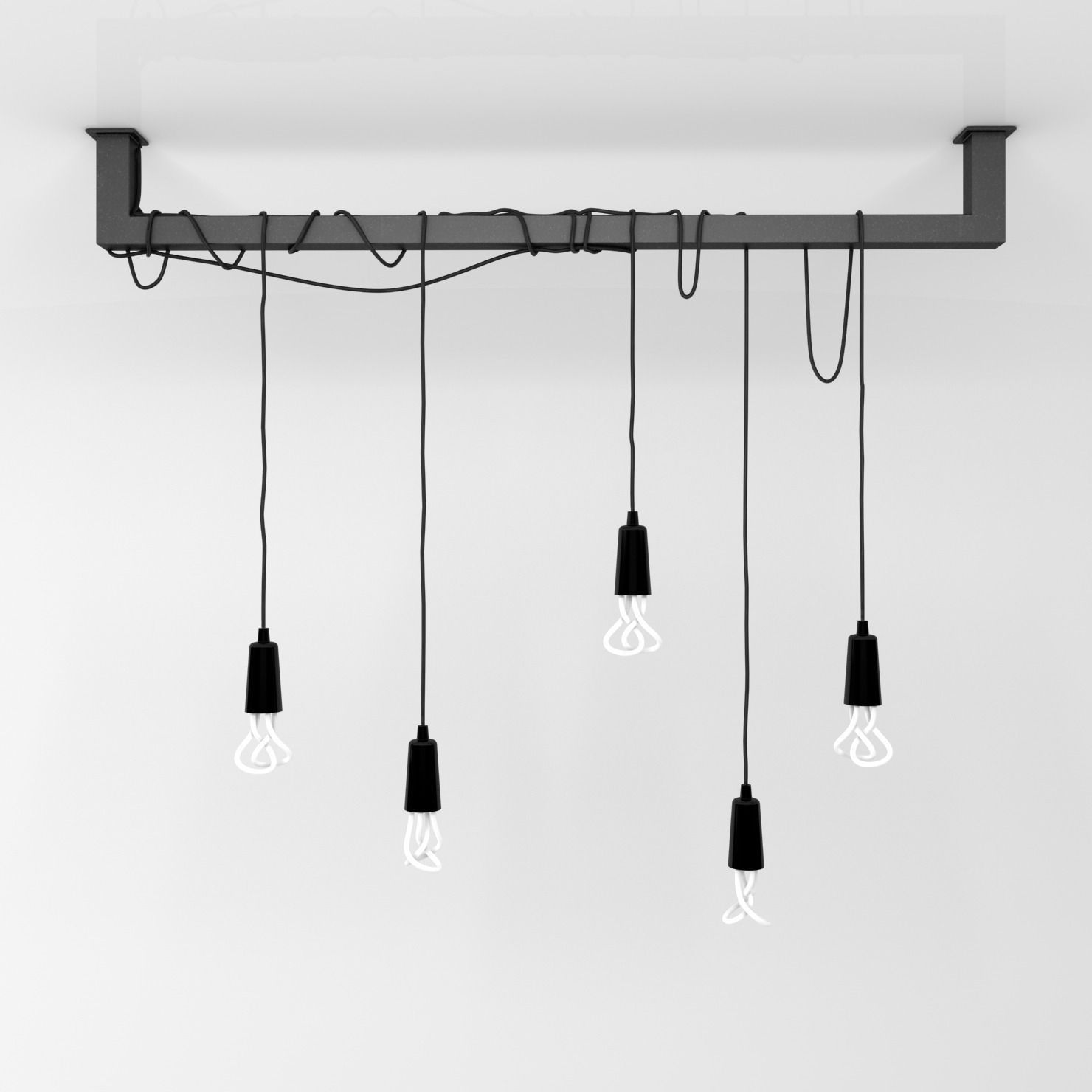 Cable bar pendant light with Original Plumen 001-light bulbs 3D ...