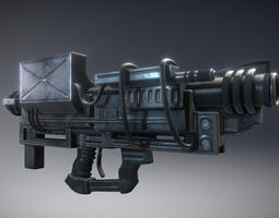 animated 3d model realtime heavy blaster gun