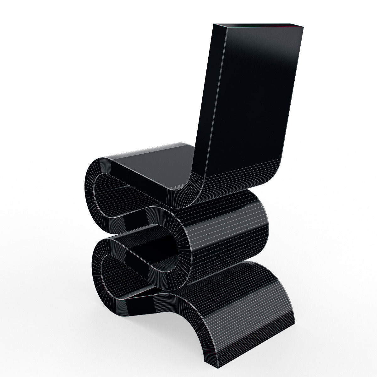 3d model vitra wiggle side chair vr ar low poly max. Black Bedroom Furniture Sets. Home Design Ideas
