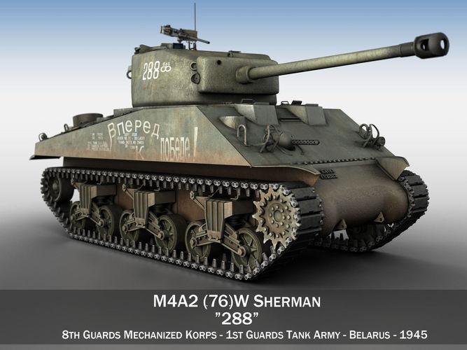 m4a2 sherman - 288 - russia 3d model obj mtl 3ds fbx c4d lwo lw lws 1