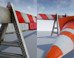 road objects - traffic - low poly realtime 3d model