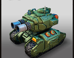 Cartoon Heavy Tank 3D Model