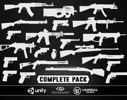 low-poly 3d asset complete weapons pack - models and textures